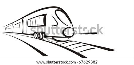 rapid train vector sketch in black lines