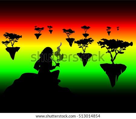 rastafarian smoking a pipe of