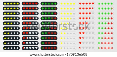 rating in different styles. star rating. hearts rating. circles rating. Set of vector icons. feedback from visitors. eps10