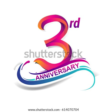3rd anniversary celebration logotype blue and red colored. three years birthday logo on white background.