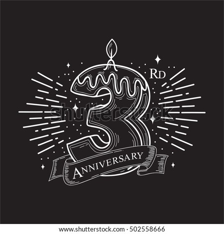 3rd Years Anniversary Design. Vector design template elements for your celebration.