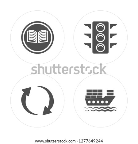 4 Reading, Refresh Curve Arrows, Big Traffic Light, Cargo Boat modern icons on round shapes, vector illustration, eps10, trendy icon set.