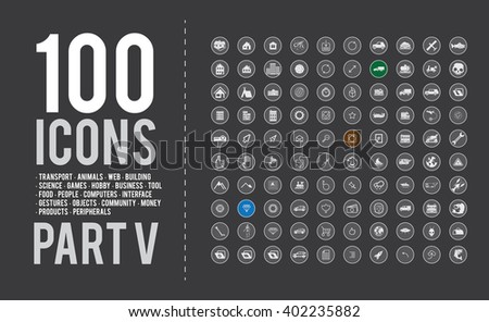 100  ready-made simple vector icons set on various topics: transport icons, animals icons, web icons, building icons, science icons, games icons, hobby icons, business icons, tool icons, food icons.