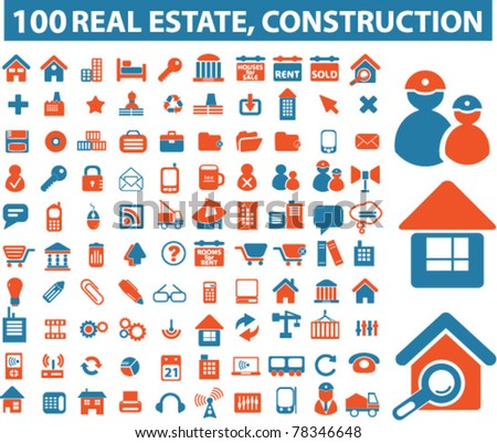100 real estate & construction icons, signs, vector illustrations