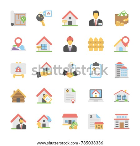 Real Estate Flat Vector Icons Set