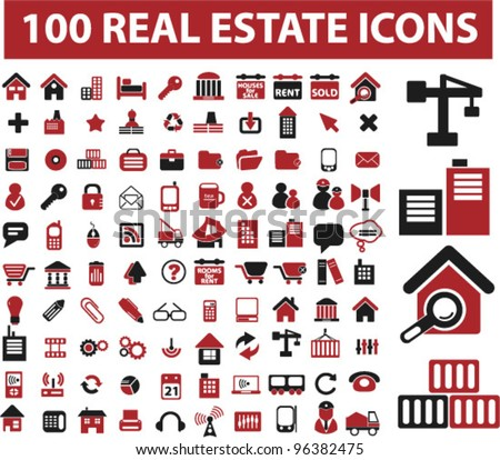 100 real estate icons set, vector