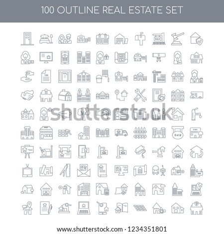 100 Real estate universal icons set with Guarantee linear, Deposit Brick wall Catalogue Online shopping Search Contract Placeholder linear