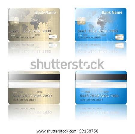 Realistic credit cards gold and blue, vector.