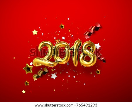 2018 realistic golden sign on red background with sparkling confetti tinsel particles stars and