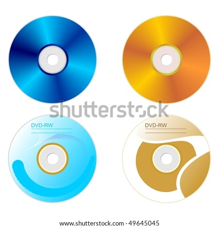Realistic illustration set DVD disk with both sides - vector