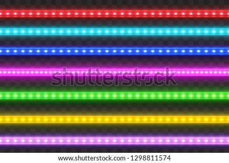 Realistic seamless LED colorful  strip  set. Decoration illuminated tape. Glow light effect. .Glowing neon effect.