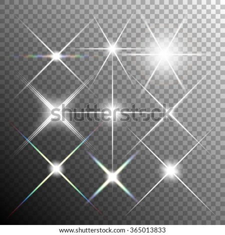 Realistic transparent glares from bright lights and flashes. Vector illustration