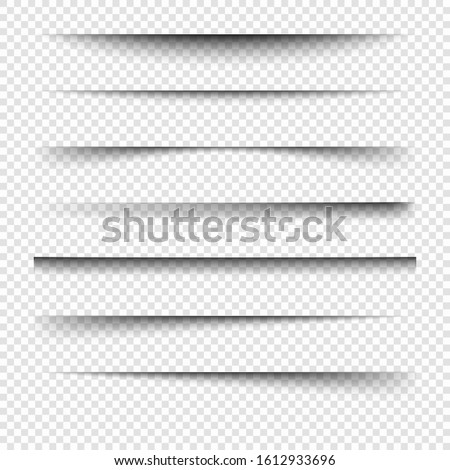 Realistic transparent shadow. Set of page separation vectors. Transparent shadow. Page separator.