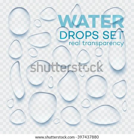 Realistic transparent Water drops