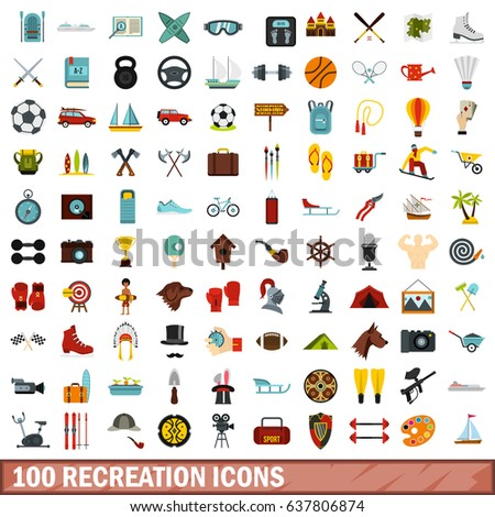 100 recreation icons set in flat style for any design vector illustration
