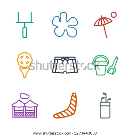 9 recreation icons. Trendy recreation icons white background. Included outline icons such as golf putter, boomerang, pergola, bucket toy for beach. recreation icon for web and mobile.