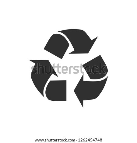 Recyclable Badge. Recycling. Black flat design. Vector Illustration