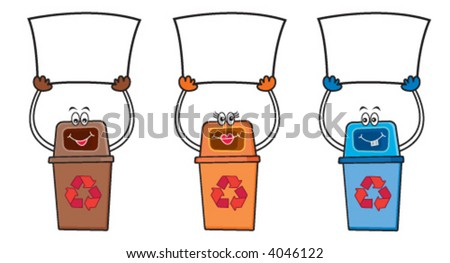 3 recycle bins holding blank signs for your own message (vector) - cartoon illustration