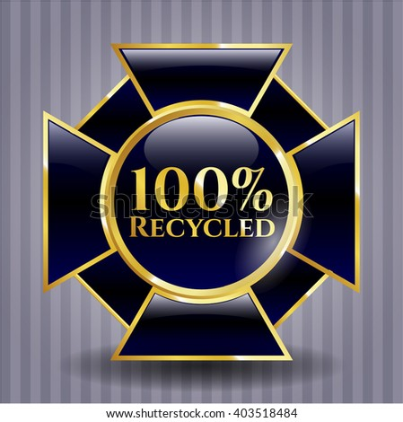 100% Recycled golden badge