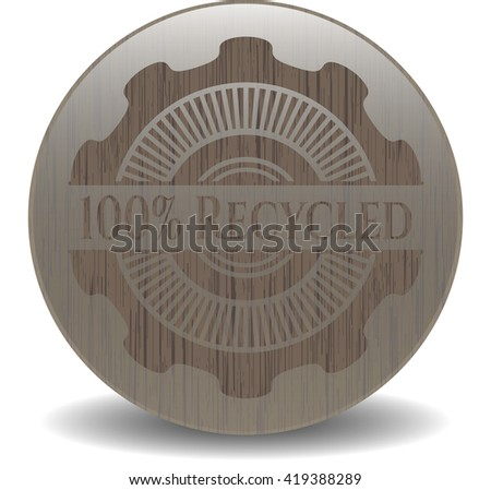 100% Recycled retro wooden emblem