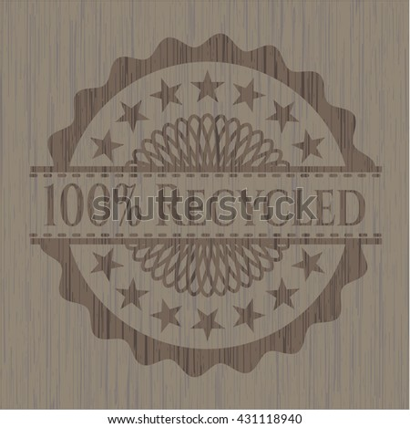 100% Recycled wood emblem
