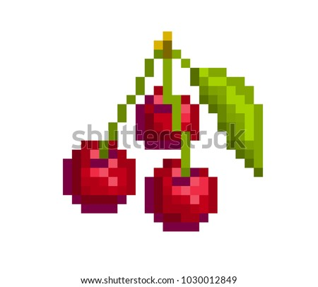 3 red appetizing cherries with
