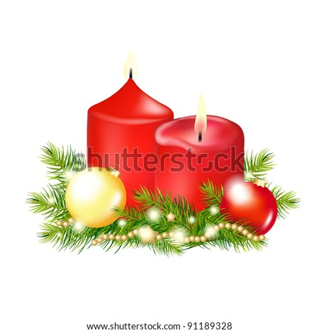 2 red christmas candle
