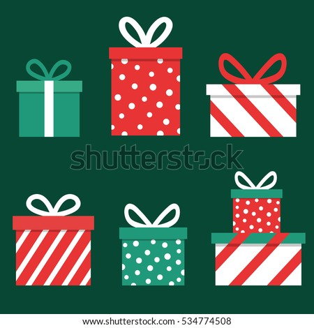 Red Christmas Presents on Clear White Background