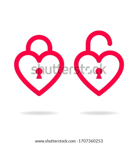 red heart design with open and