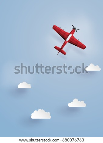 red plane flying  on the sky
