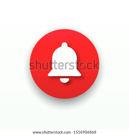 Red round web button bell with shadow. Template bell web symbol app, ui. Vector illustration. EPS 10