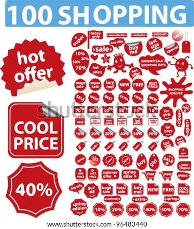 100 red shopping sales icons, stickers, labels tags, set, vector
