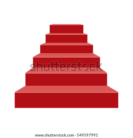 Red stairs Stage podium with 6 steps. Vector illustration.