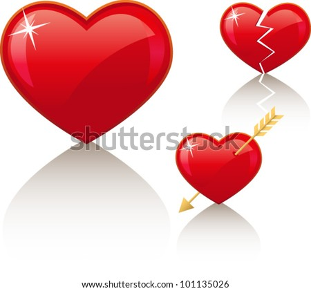3 red vector icons: simple heart, broken heart and heart with arrow