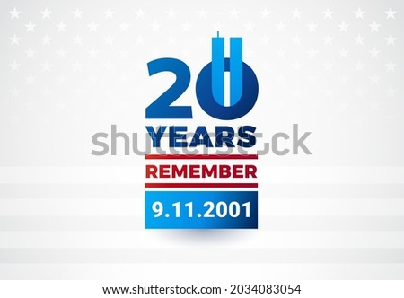 9-11 Remembrance day - 20 Years anniversary of September 11th attacks. We will never forget 9.11.2001. Vector illustration Сток-фото ©