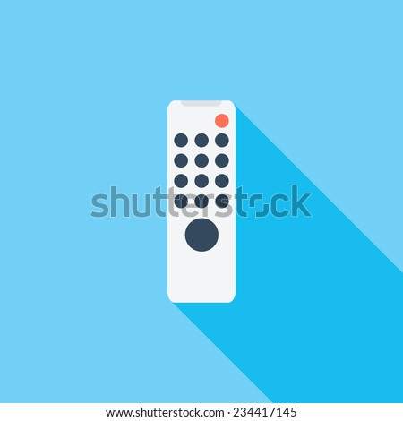 Remote control flat icon. Modern flat icons with long shadow effect in stylish colors. Icons for Web and Mobile Application. EPS 10.