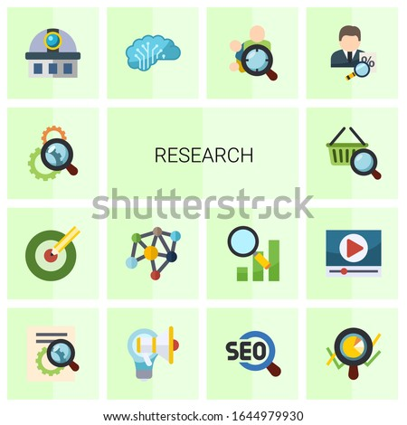 14 research flat icons set