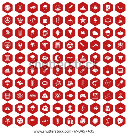 100 research icons set in red hexagon isolated vector illustration
