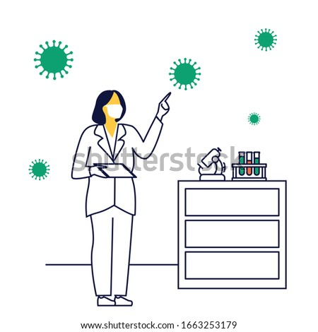 Research scientist is analyzing test data for new generation medications. Coronavirus vaccine.