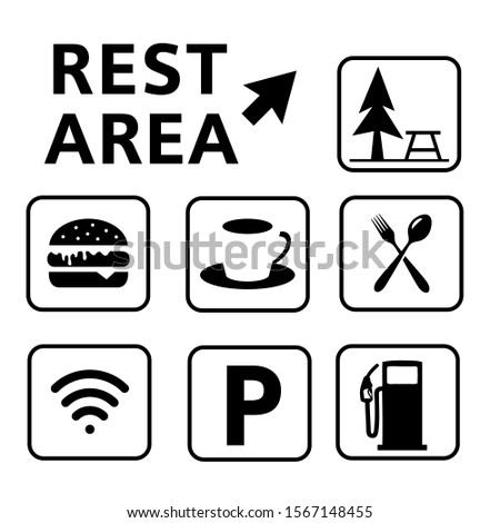 rest area sign vector illustration,Set of symbols for urban areas,