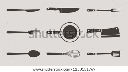 9 Restaurant and Kitchen elements icons. Butcher knives, grill fork and spatula, spoon, fork and knife, meat knife, cleaver, chef, bbq fork, frying pan, whisk. Vector Illustration