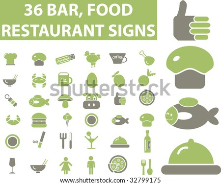 36 restaurant, bar, food signs. vector. please, visit my portfolio to find more similar.