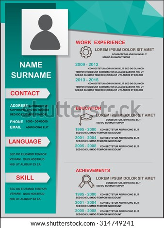 resume cv template infographics background and element