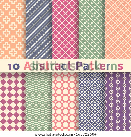 10 Retro abstract vector seamless patterns (tiling). Endless texture can be used for wallpaper, pattern fills, web page background, surface textures. Set of pastel monochrome geometric ornaments.