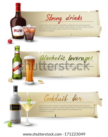 3 retro banners with alcoholic