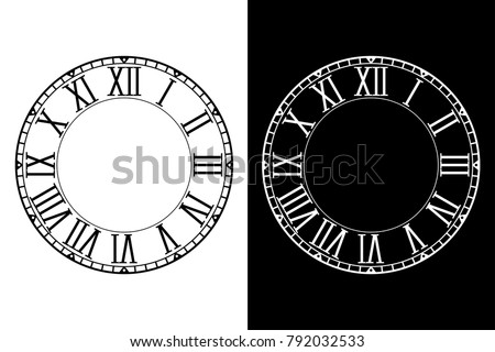 Retro clock face with roman numerals. Vector illustration