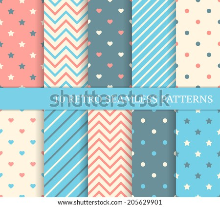 10 retro different seamless patterns Zigzag and stripes