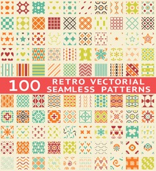 100 Retro different vector seamless patterns (with swatch). Endless texture can be used for wallpaper, pattern fills, web page background, surface textures. Set of vintage color geometric ornaments.