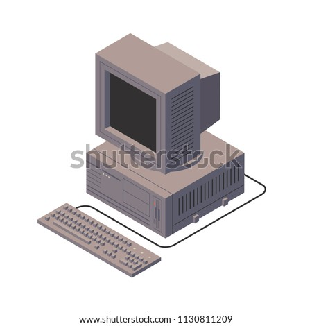 Retro personal computer. Old PC with display, keyboard. Isometric vector illustration. White background
