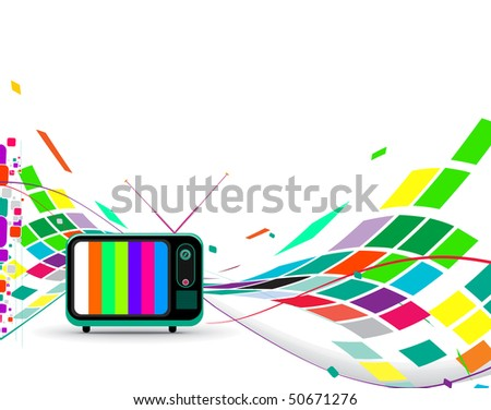 Retro television with wave mosaic wave background, vector illustration